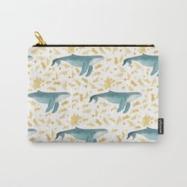 Blue Whales Swimming in Gold Carry-All Pouch