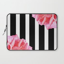 Pink roses on black and white stripes Laptop Sleeve