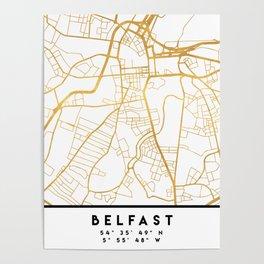 BELFAST UNITED KINGDOM CITY STREET MAP ART Poster