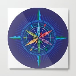 Kayak Compass Rose Metal Print