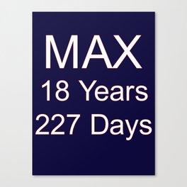 Max Verstappen youngest f1 grand prix winner - 18 years, 227 days Canvas Print
