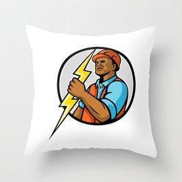 African American Electrician Lightning Bolt Mascot Throw Pillow