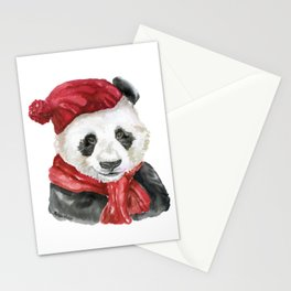 Panda Bear with Hat and Scarf Watercolor Stationery Cards