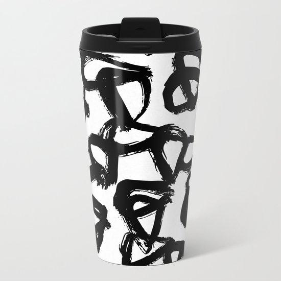 Painted Geometric Black and White Metal Travel Mug