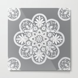 Floral Doily Pattern | Grey and White Metal Print
