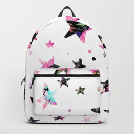 Abstract pink violet black watercolor geometrical stars Backpack