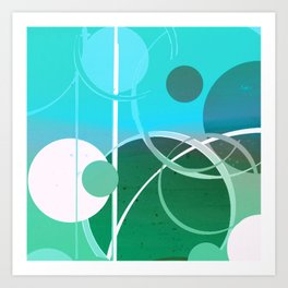 Turquoise Green Ombré Circle Abstract Design 2 Art Print