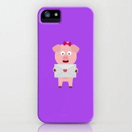 Female Pig with Loveletter iPhone Case