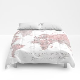 Detailed world map in dusty pink and grey, once a year.... Comforters