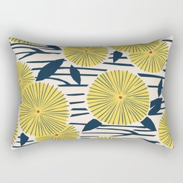 vintage, retro yellow, red and navy flower pattern Rectangular Pillow