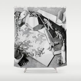 MC Escher Reptiles 1943 Artwork for Posters Prints Tshirts Men Women Kids Shower Curtain