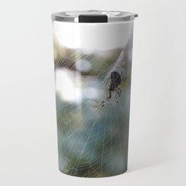 orb weaver spider in autumn bokeh Travel Mug