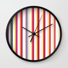 Colorful Stripes Barcode 80s Wall Clock
