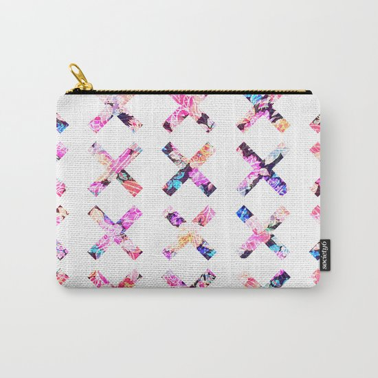 Elegant Vintage Chic Floral Bright Crosses Pattern Carry-All Pouch