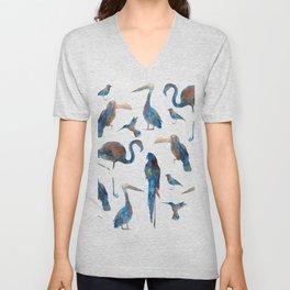 Tropical Birds Watercolor Unisex V-Neck