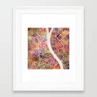 budapest Framed Art Prints featuring Budapest  by MapMapMaps.Watercolors