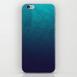 Blue Ombre Map iPhone Skin