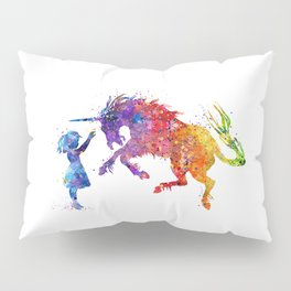 Girl and Unicorn Colorful Rainbow Watercolor Kids Gift Pillow Sham