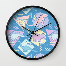 Nineties Dinosaurs Pattern  - Pastel version Wall Clock