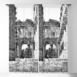 Paestum: girl photographs in the temple Blackout Curtain