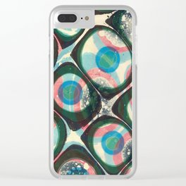 Transparent dots, cyan & pink, marble Clear iPhone Case
