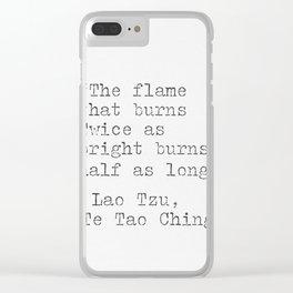 Lao Tzu, philosophy, quote. Clear iPhone Case