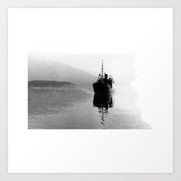 Fjord ship Art Print