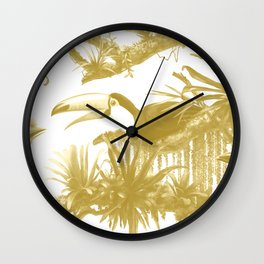 Toucans and Bromeliads - Spicy Mustard Wall Clock
