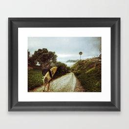 Surfer Boy, Cardiff, California Framed Art Print