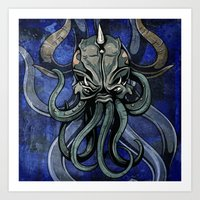kraken Art Prints featuring Kraken by Spooky Dooky