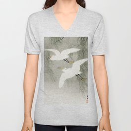 Flying Egrets - Japanese vintage woodblock print Unisex V-Neck