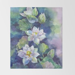 Watercolor lotos flowers art Throw Blanket