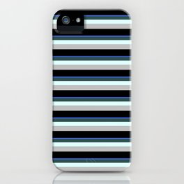 Eye-catching Royal Blue, Dark Slate Gray, Light Cyan, Grey & Black Colored Striped Pattern iPhone Case