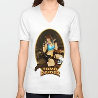 tomb raider V-neck T-shirts featuring Tomb Raider by Orphen5