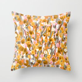 70s Vintage Orange Floral Pattern Throw Pillow