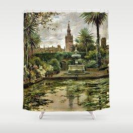 Garden, Reflecting Pool & Tower Seville Spain by Manuel García y Rodríguez Shower Curtain