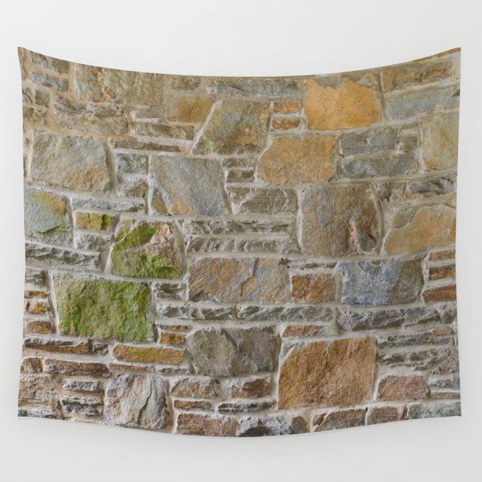 Avondale Brown Stone Wall and Mortar Texture Photography Wall Tapestry