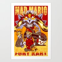 mario kart Art Prints featuring Mad Mario: Fury Kart by RynoArts