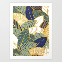 Leaf wall // navy blue pine and sage green leaves golden lines Art Print