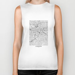 London White Map Biker Tank
