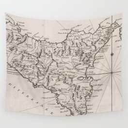 Vintage Map of Sicily Italy (1764) Wall Tapestry