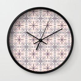 Geometrical tiles in pink Wall Clock