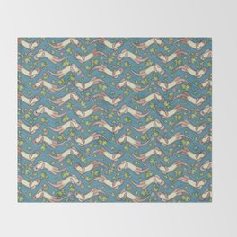 Swimming Otters Pastel Tones Throw Blanket