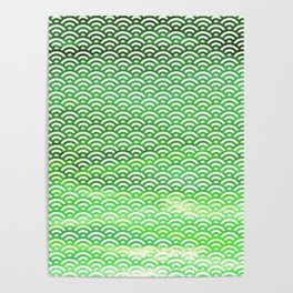 St. Patrick's Day Watercolor Seigaiha Pattern Poster