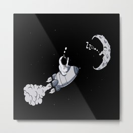 Astronaut On The Way To The Moon Gift Idea Design Metal Print