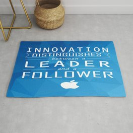 Innovation distinguishes between a leader and a follower Business Inspirational Quote Rug