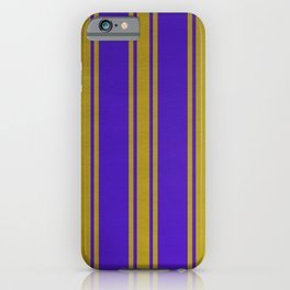 Yellow lines on a blue background iPhone Case
