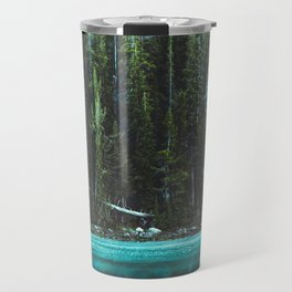 Nature Photo - Turquoise Blue Lake and Tall Pines Travel Mug