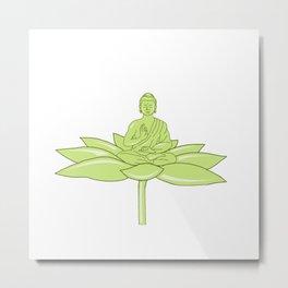 Buddha Sitting on Lotus Flower Drawing Metal Print