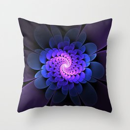 Spiraling Flower Fractal in Blue and Purple Throw Pillow